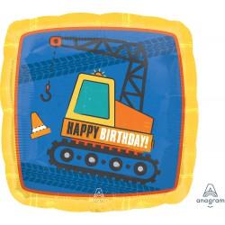 Construction Happy Birthday  Foil Balloon