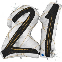 *INFLATED * Marble Mate Foil number Balloon - 21 BLACK