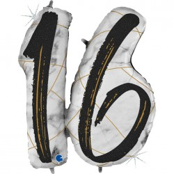 *INFLATED * Marble Mate Foil number Balloon - 16 BLACK