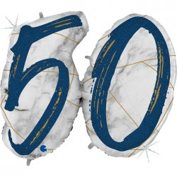 *INFLATED * Marble Mate Foil number Balloon - 50 BLUE