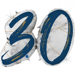 *INFLATED * Marble Mate Foil number Balloon - 30 BLUE