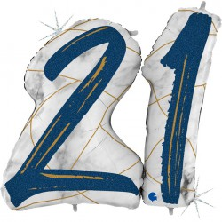 *INFLATED * Marble Mate Foil number Balloon - 21 BLUE
