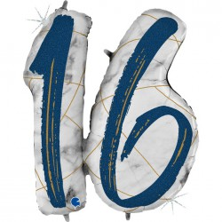 *INFLATED * Marble Mate Foil number Balloon - 16 BLUE