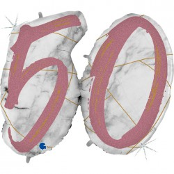 *INFLATED * Marble Mate Foil number Balloon - 50 ROSE GOLD