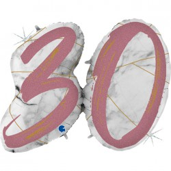 *INFLATED * Marble Mate Foil number Balloon - 30 ROSE GOLD