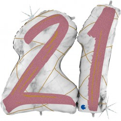 *INFLATED * Marble Mate Foil number Balloon - 21 ROSE GOLD