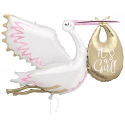 """Giant Stork """"It's a girl"""" foil Balloon"""