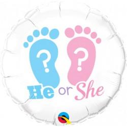 He or She Footprints Foil Balloon