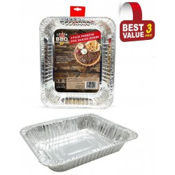 3 Pack of Rectangle Foil Trays - 318mm x 268mm x 58mm