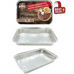 4 Pack of Rectangle Foil Trays with lids-  31.5cm x,  21.5cm x 5.8cm