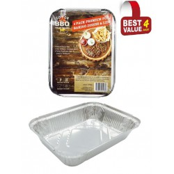 4 Pack of Rectangle Foil Trays with lids-  225mm x 160mm x 53mm