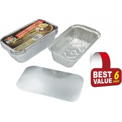 6 Pack of Rectangle Foil Trays with lids-  205mm x 115mm x 55mm