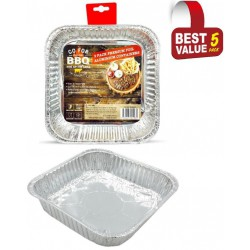 5 Pack of Square Foil Trays - 205mm x 205mm x 42mm