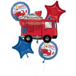 Fire Truck First Responder Birthday  Foil Balloon Set