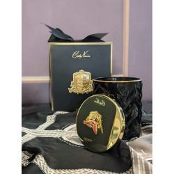 Cote Noire Herringbone Candle with Scarf-  Black