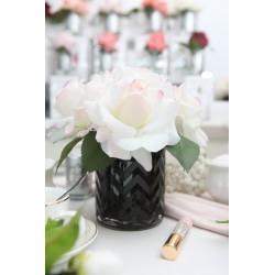 Cote Noire Herringbone Black Glass Blush Roses