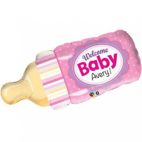 Welcome Baby Bottle Pink Foil Balloon
