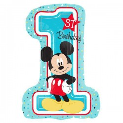Mickey Mouse 1st Birthday Number Foil Balloon