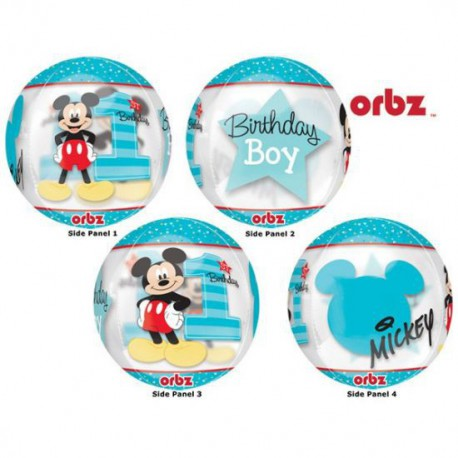 Mickey Mouse 1st Birthday Clear Orb Foil Balloon