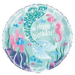 Happy Birthday Mermaid Foil Balloon
