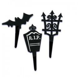 Halloween Black Bat Cemetery Cupcake Picks - 12 pack