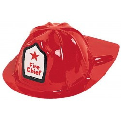 Plastic Fire Chief Hat- Red